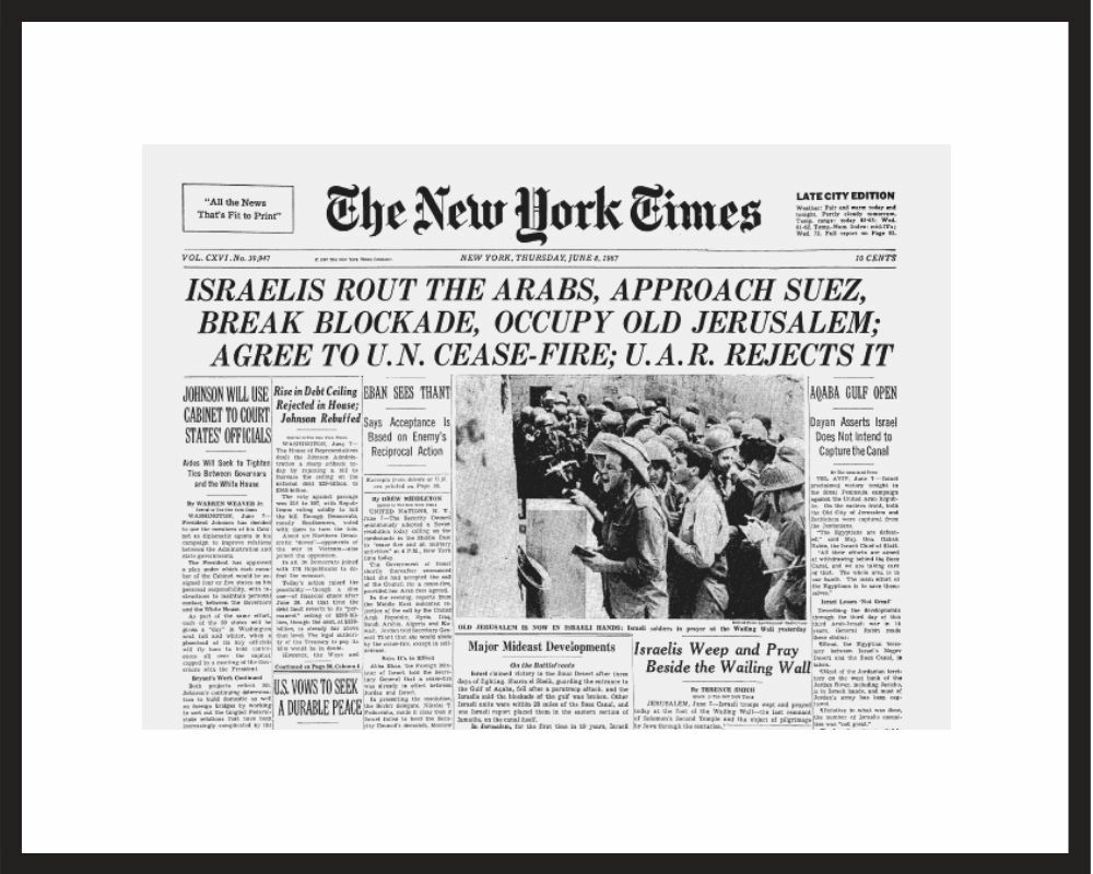 New York Times - Framed Historic Reprint - 1967 Six -Day War / Jerusalem Captured