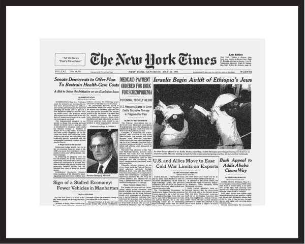 New York Times - Framed Historic Reprint - 1991 Israel Airlifts Ethiopian Jews