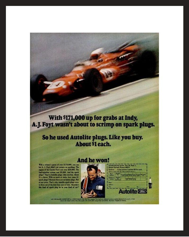 LIFE Magazine - Framed Original Ad - 1967 Autolite / AJ Foyt Spark Plug Ad