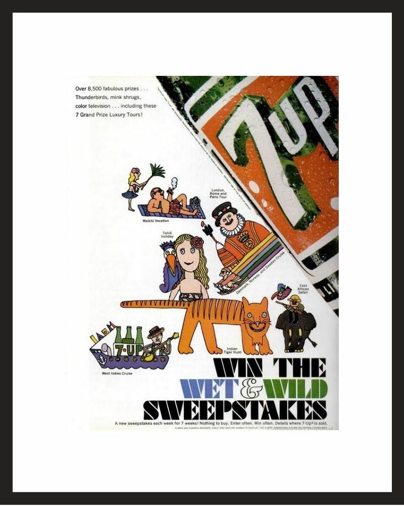 LIFE Magazine - Framed Original Ad - 1967 7-Up Ad