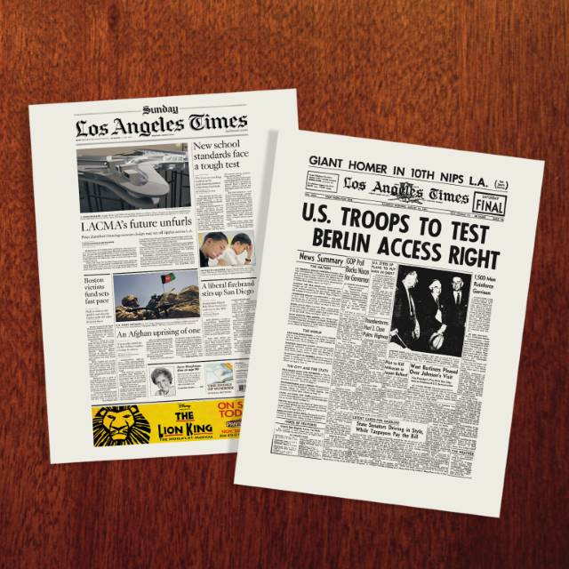 LA Times Front Page Newspaper Poster