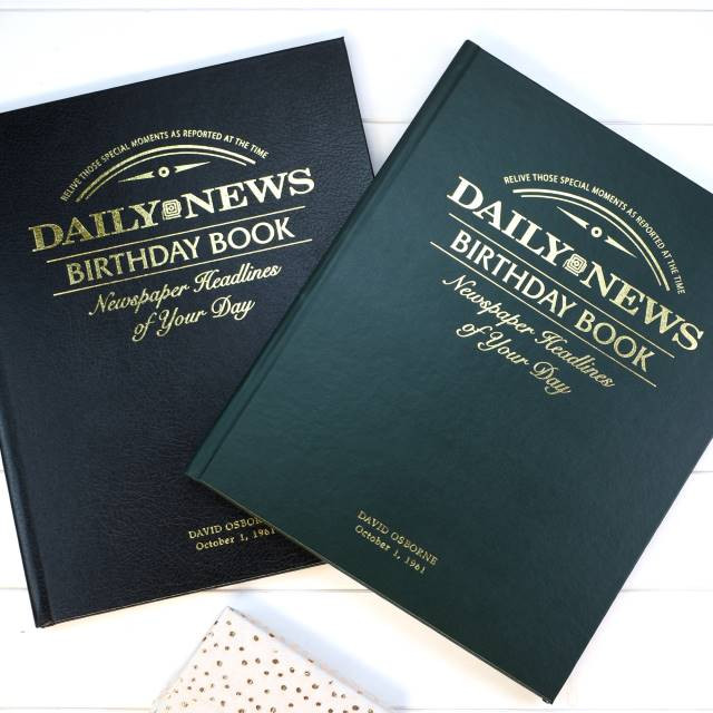 NY Daily News Birthday Book - Green Leatherette or Black Leather