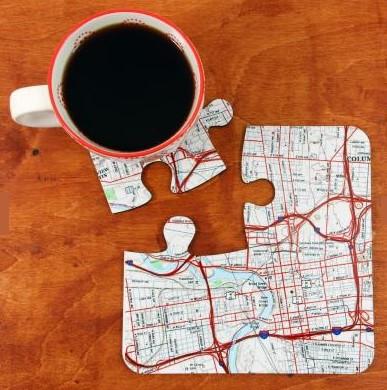 Vintage USGS Map Coaster (Puzzle Pieces)
