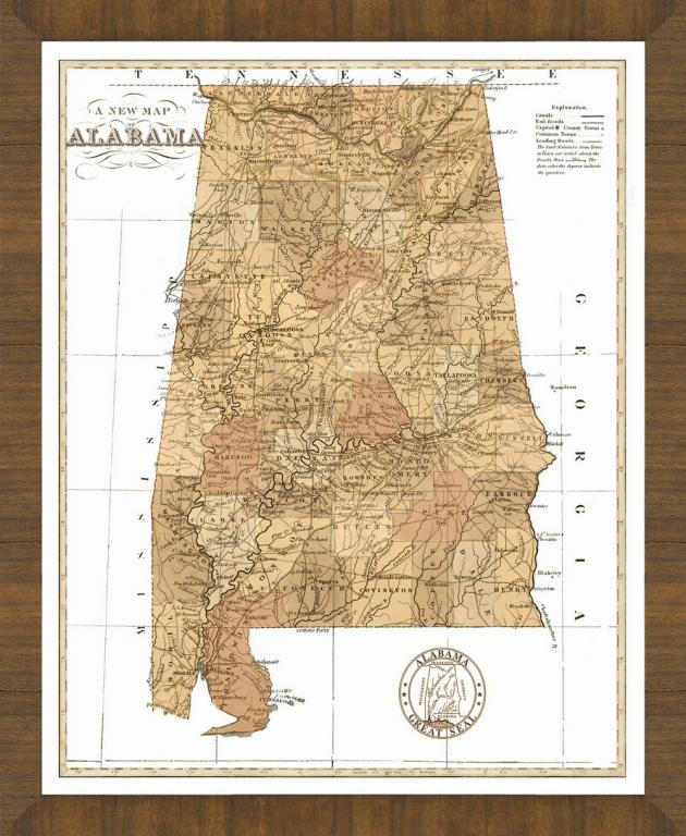 Old Map of Alabama – A Great Framed Map That's Ready to Hang S In Alabama Map on