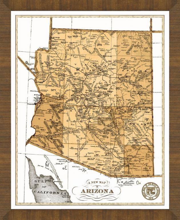 Map Of Old Arizona.Old Map Of Arizona