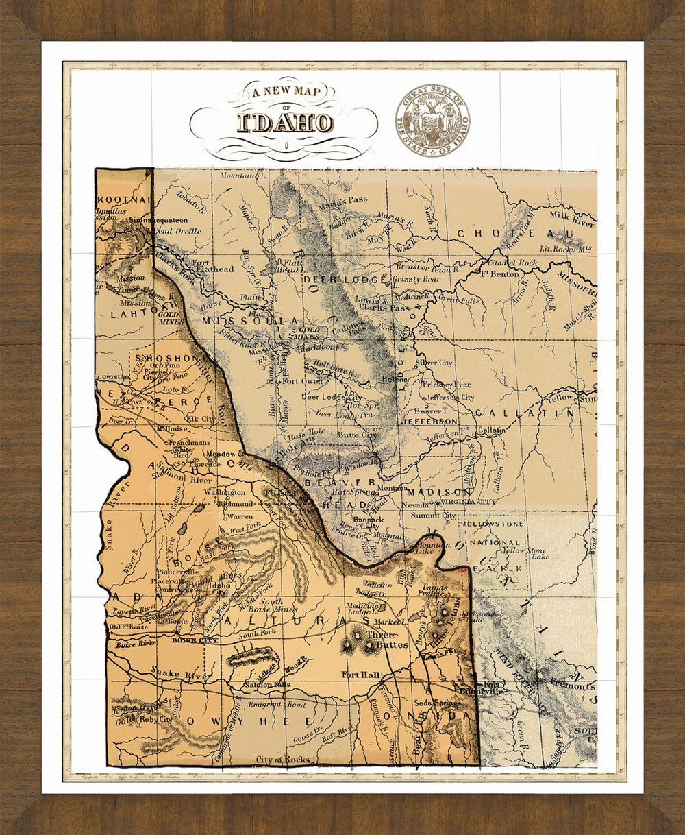 Old New England Map.Old Map Of Idaho A Great Framed Map That S Ready To Hang