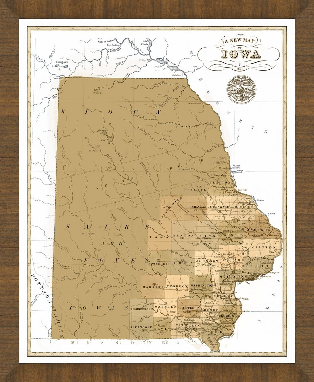 Old Iowa Map.Old Map Of Iowa A Great Framed Map That S Ready To Hang
