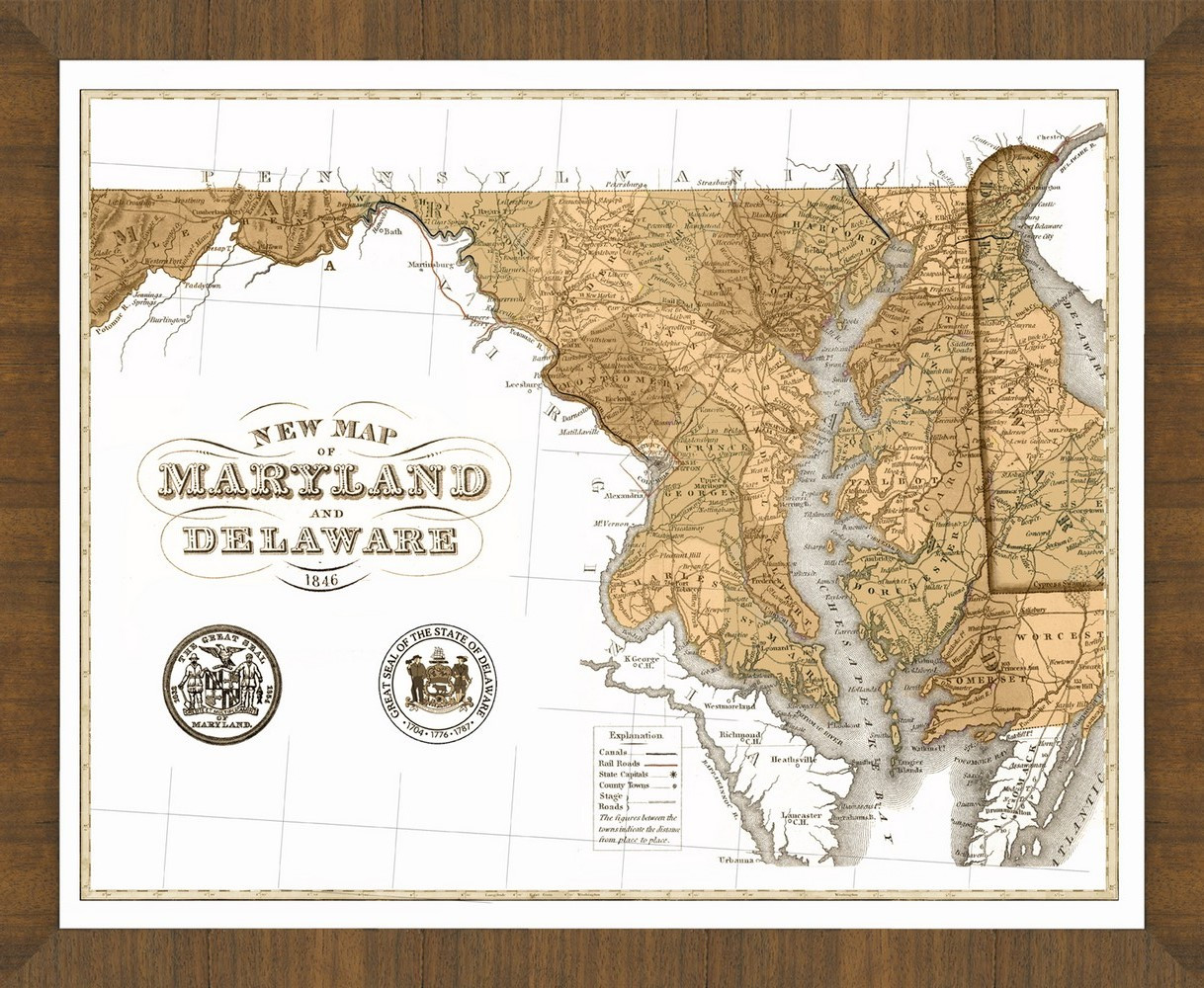 Old Map Of Maryland A Great Framed Map Thats Ready To Hang - Old-map-of-us