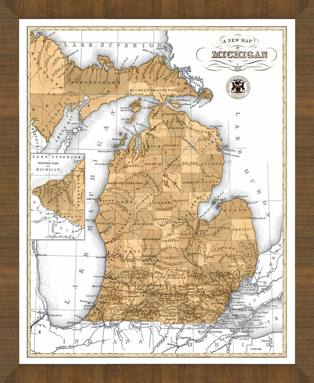 Old Map of Michigan Map For Michigan on rental agreement for michigan, weather for michigan, attractions for michigan, postal code for michigan, zip codes for michigan, climate for michigan, flag for michigan, travel brochure for michigan, time zone for michigan,