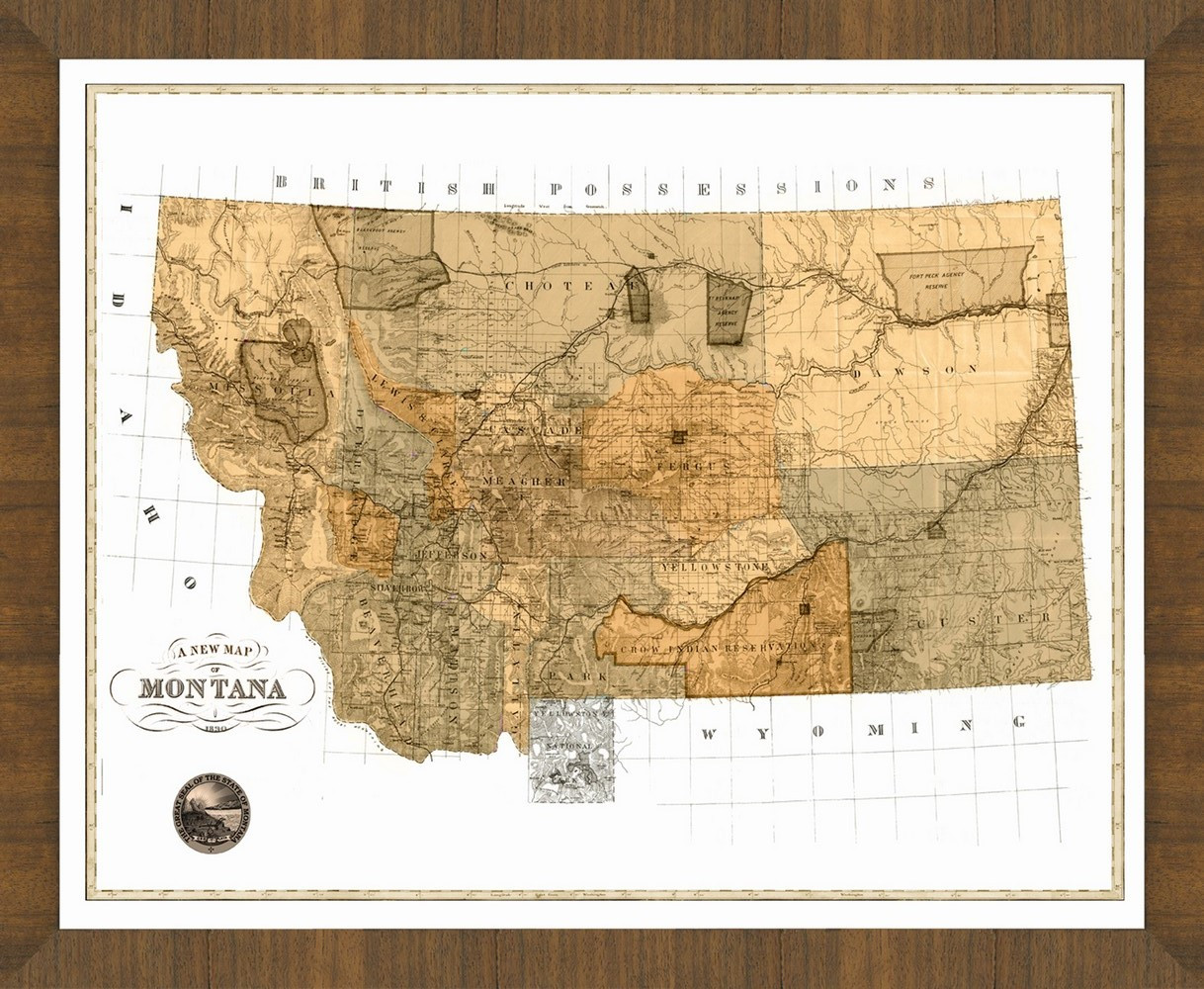 Old Map of Montana