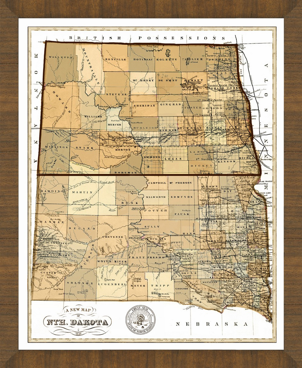 Old Map of North Dakota – A Great Framed Map That\'s Ready to Hang