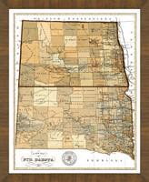Old Map of North Dakota