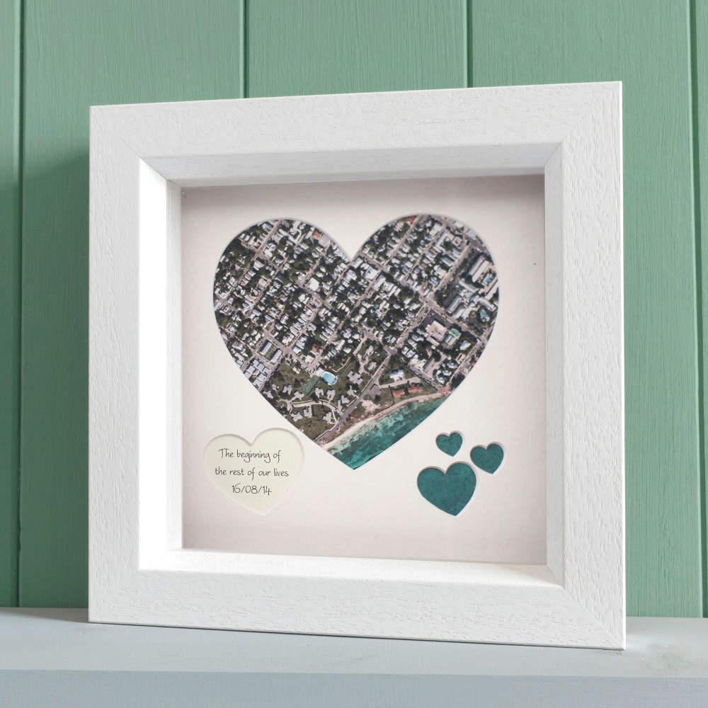 Aerial Heart Map - White Frame