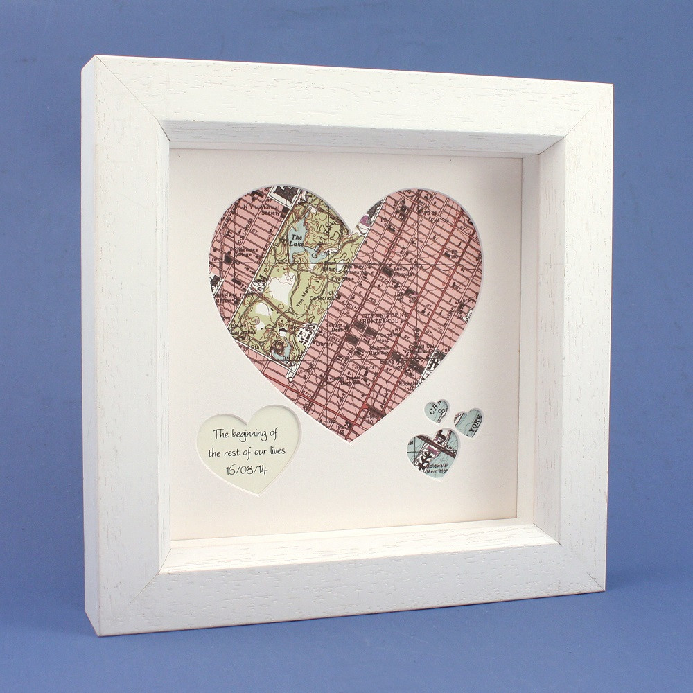 Heart Map - White Frame