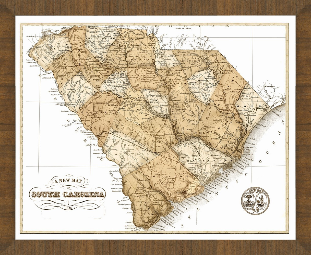Old Map of South Carolina – A Great Framed Map That\'s Ready to Hang