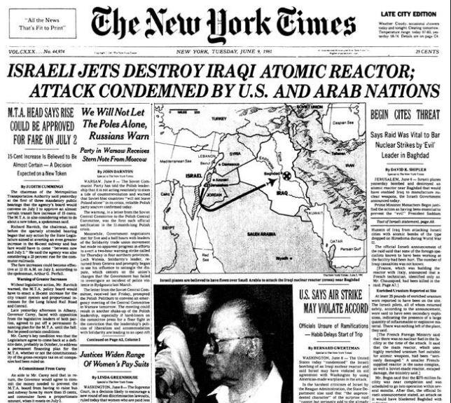 Image result for israeli jets destroy iraqi atomic reactor new york times