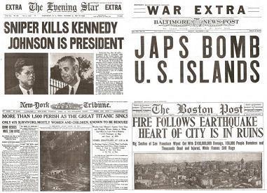 Four Tragic Dates in History Newspaper Set