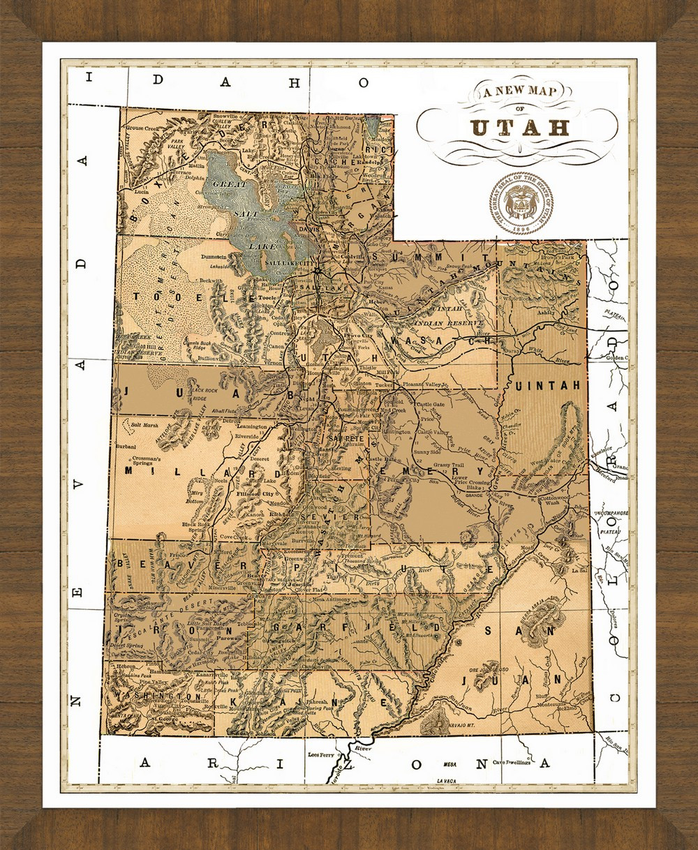 Old Map Of Utah A Great Framed Map That S Ready To Hang