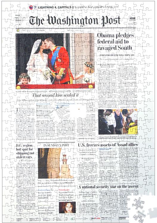 Newspaper Jigsaw Washington Post Front Page