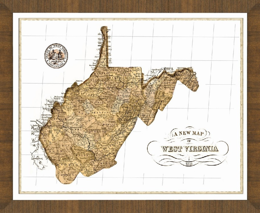 Old Map Of West Virginia A Great Framed Map That S Ready To Hang
