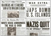 World War Two Major Events Newspaper Set