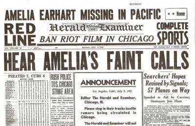 Amelia Earhart Newspaper Historic Coverage
