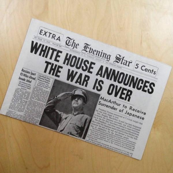 World War II Ends Newspaper