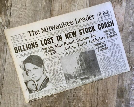 1929 Stock Market Crash Newspaper