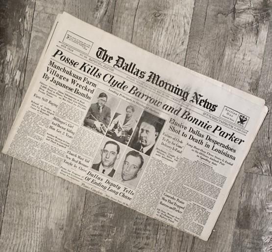Bonnie & Clyde Historical Newspaper Reprint