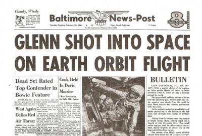John Glenn Orbits Earth Historic Newspaper