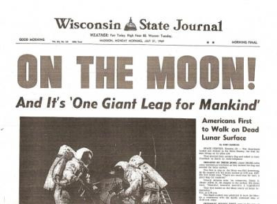 The 1969 moon landing, as reported by the LA Times... by ...  |Huntsville Newspaper Moon Landing