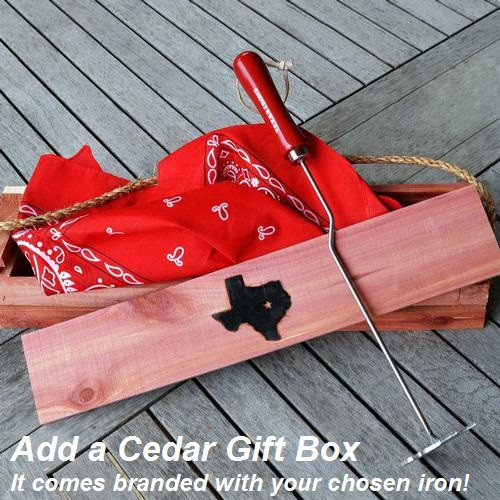 Add a Cedar Gift Box - branded with your chosen iron design.