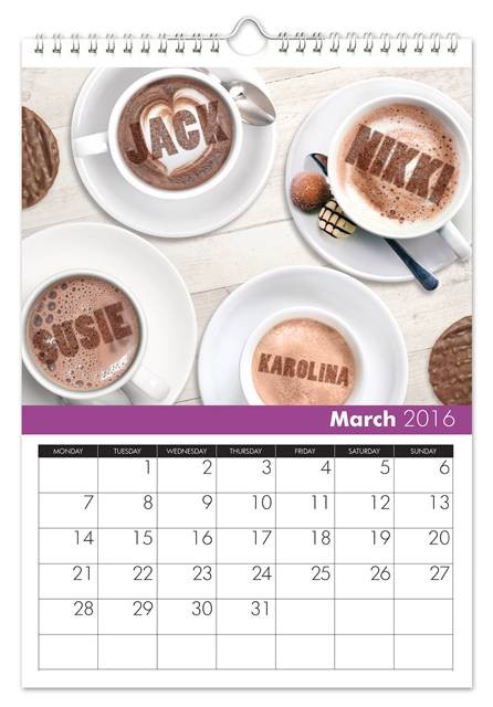 March Family Name Calendar