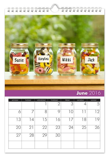 June Family Name Calendar