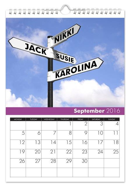 September Family Name Calendar