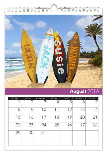 August Family Name Calendar