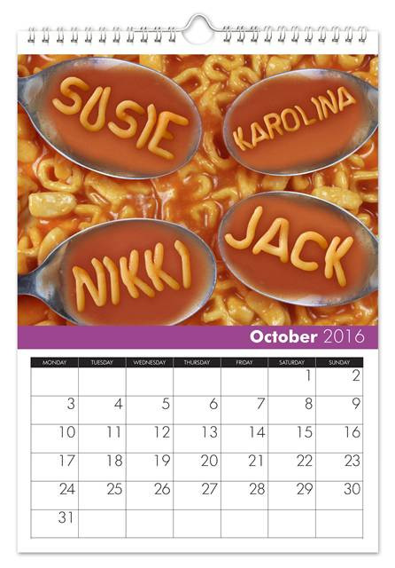 October Family Name Calendar
