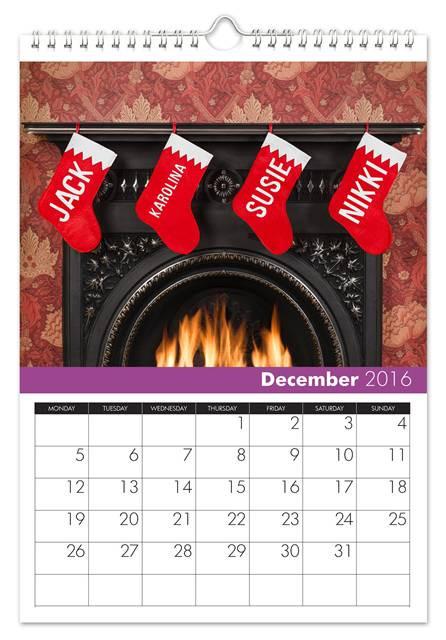 December Family Name Calendar
