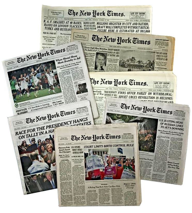 Original New York Times Newspapers from Your Day of Birth