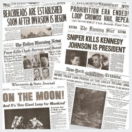 Man Cave Essentials: 6-Pack of Historic Newspapers