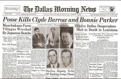 Bonnie and Clyde Historic Newspaper Reprint