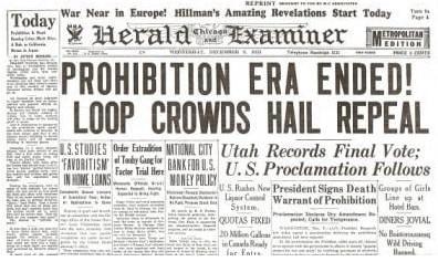 Prohibition Ends Historic Newspaper Reprint