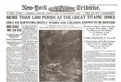 Titanic Sinks Historic Newspaper Reprint