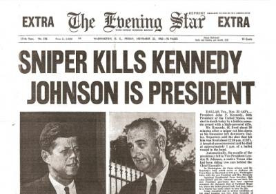 JFK Assassinated Historic Newspaper Reprint
