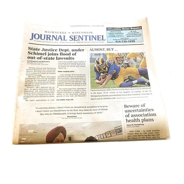 Milwaukee Journal Sentinel Birthday Newspaper