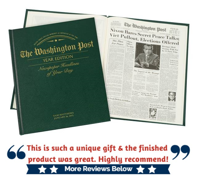 Washington Post Year Edition Newspaper Book - Great for birthdays or anniversaries