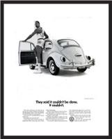 LIFE Magazine - Framed Original Ad - 1966 VW Bug & Wilt Chamberlain
