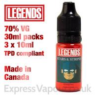 Stars and Stripes - LEGENDS e-liquid - 70% VG - 30ml