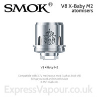 3 pack - TFV8 X-BABY M2 atomisers. 0.25ohm dual coil.