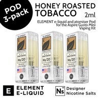 3 pack - Honey Roasted Tobacco - Element Pod for Aspire Gusto Mini - 2ml and 20mg